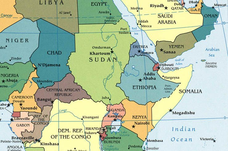 Africa. Central. East | African countries map, Africa, East ...