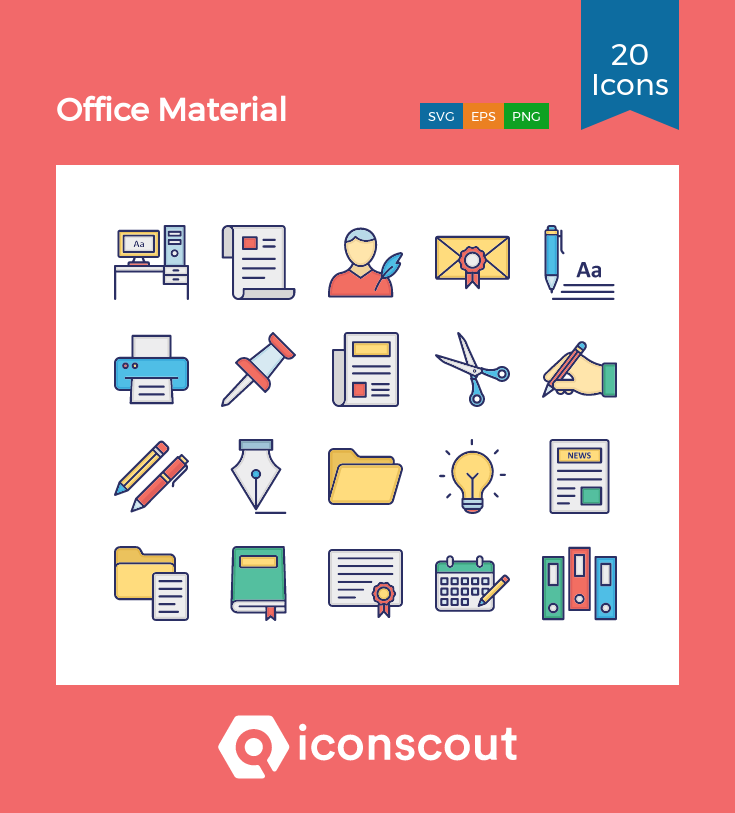 Download Office Material Icon Pack - 20 Colored Outline Icons ...