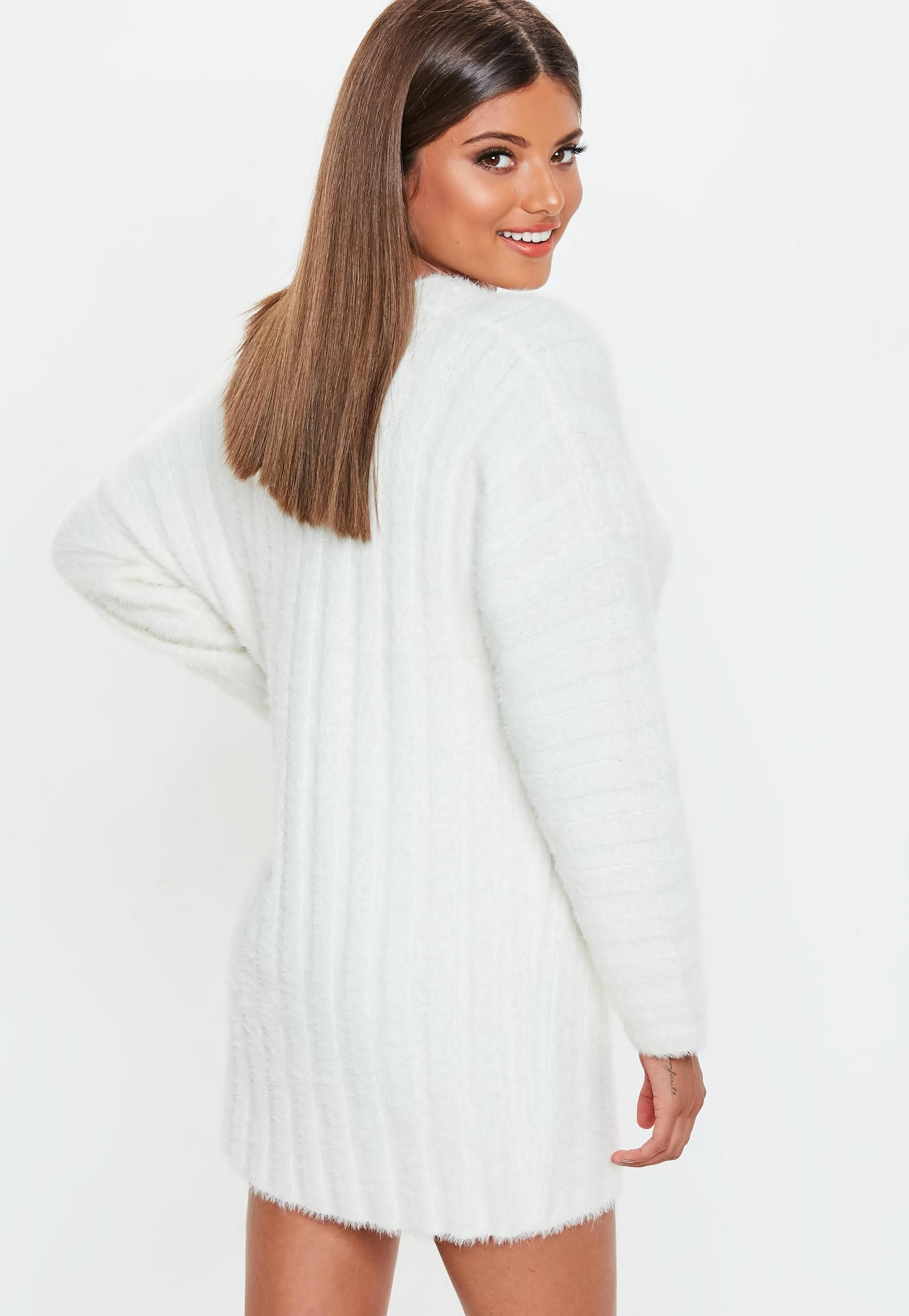 eeac993b47f22 Missguided - White Fluffy Ribbed Knitted Jumper Dress in 2019 ...