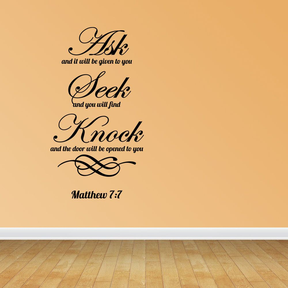 Ask Seek Knock Matthew 7:7 Bible Verse Quote Home Vinyl Decal Wall ...