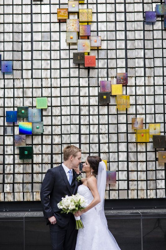 Modern, fun colorful mural with bride and groom Wedding at JW Marriott in Denver (Cherry Creek), Colorado Drew loves Lynnette Photos by Katie Corinne Photography