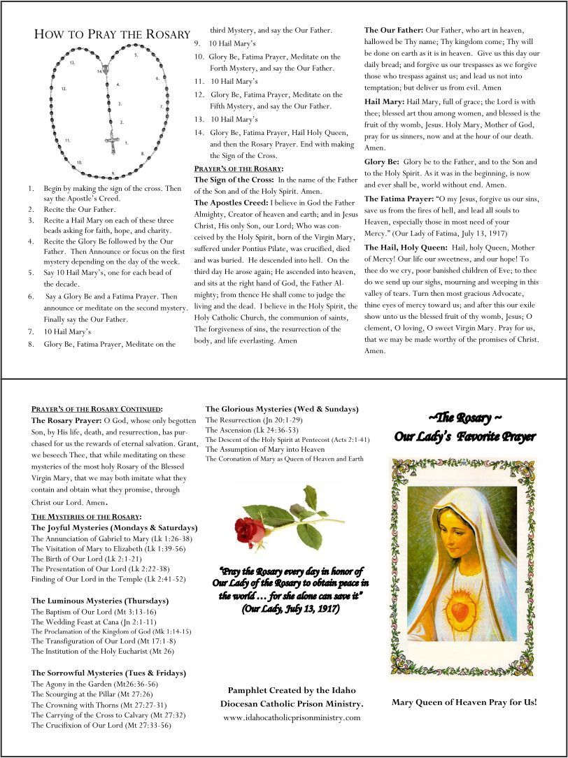 How to say the rosary pamphlet printable praying the