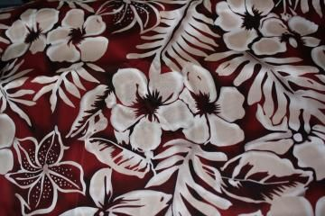 Hawaiian Fabic Cranberry Red and White - 1 yard piece by SewManyTreasures for $5.00