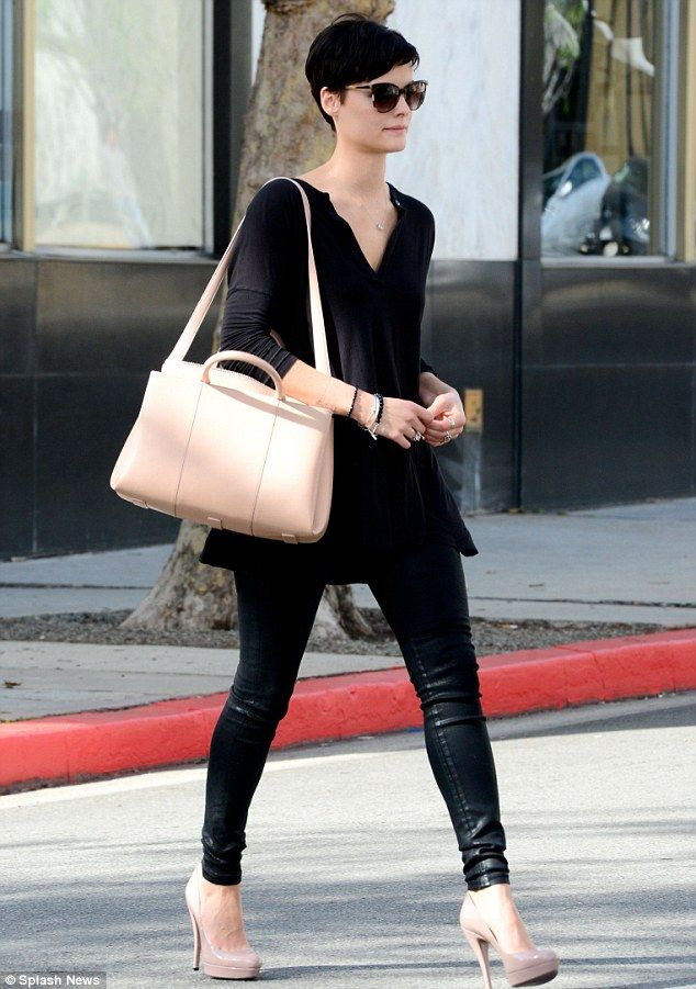 New look: Jaimie showed off a new pixie cut during a previous outing in Los Angeles...