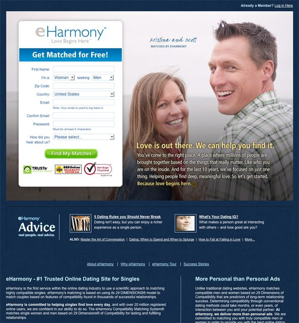 Eharmony Com Landing Page Landing Page Landing Page Inspiration Landing Page Examples
