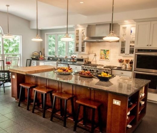 Excellent kitchen with island layout sink at window for Large kitchen island with sink