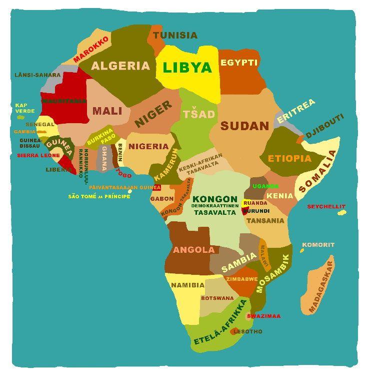 Afrikan Kartta Suomeksi Africa Tunisia Liminka