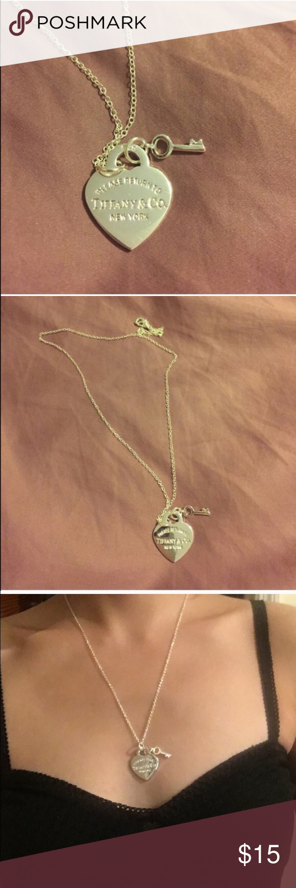Silver heart designer necklace NEW Not authentic. Jewelry Necklaces