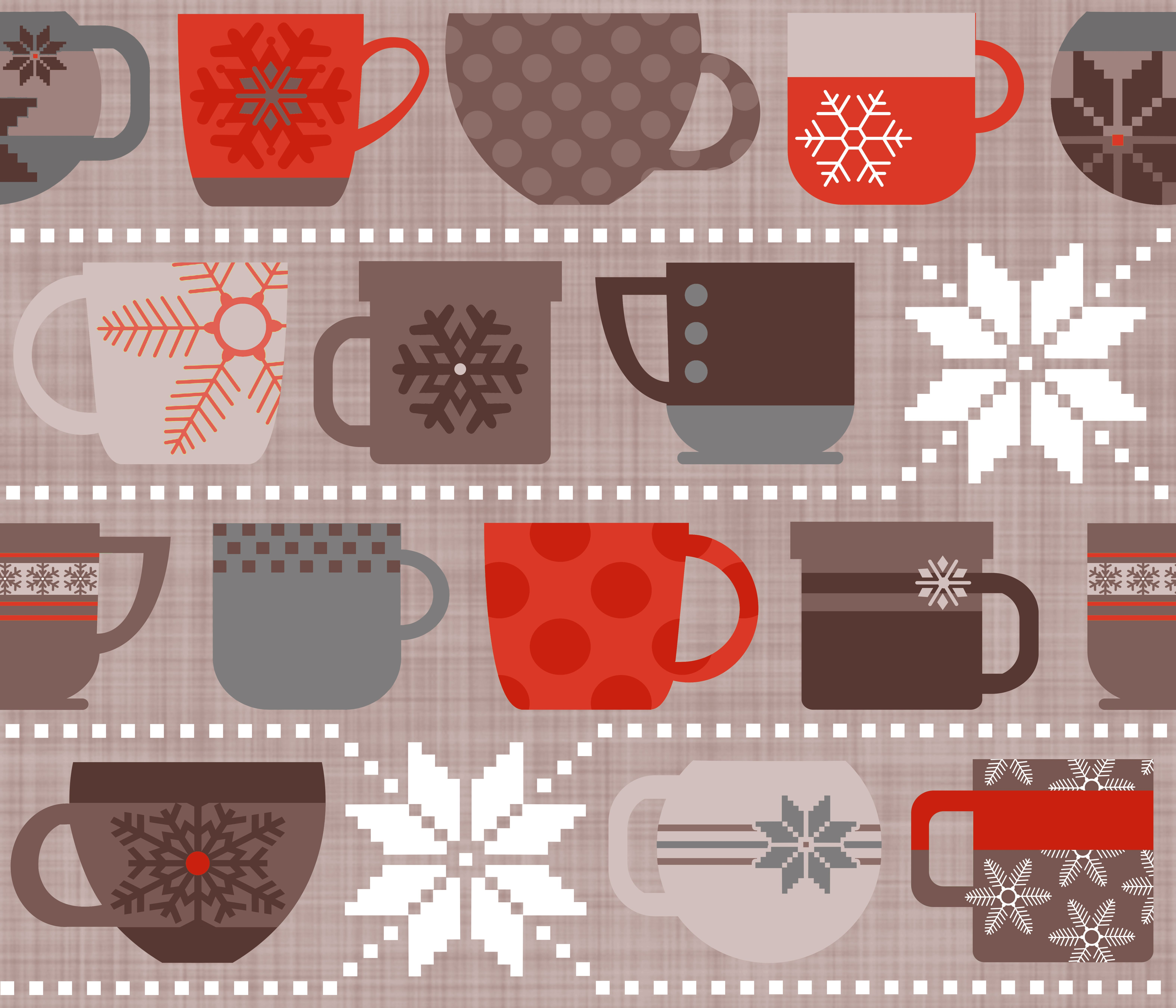 """My Spoonflower entry for the """"Snow Day"""" challenge. Cocoa and Coffee Mugs"""