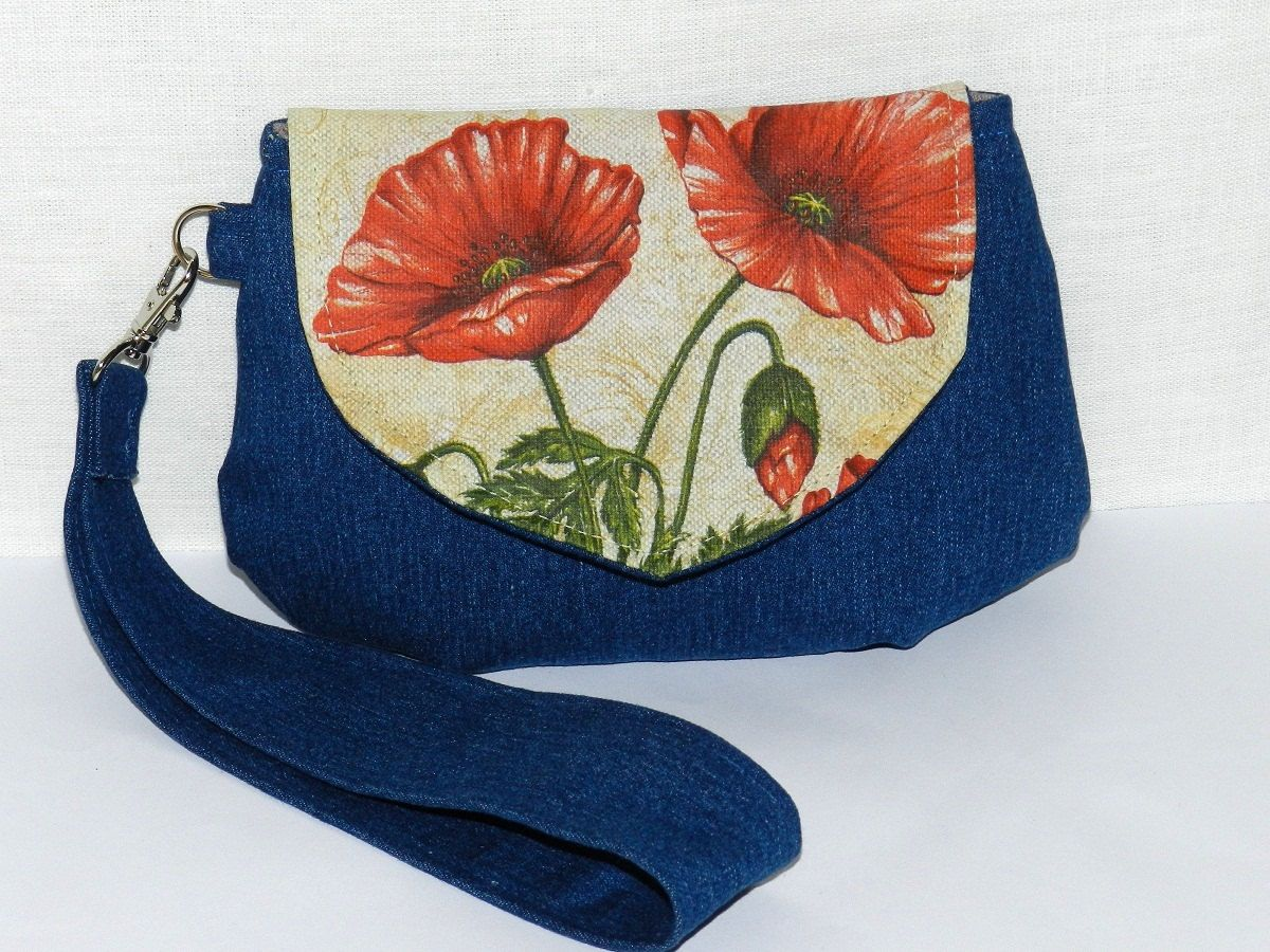 Linen and denim Clutch Purse burlap, Summer poppies design, linen and denim design, small laydies bag, Personalize Make Up bag,every day bag by Jolanyasewing on Etsy