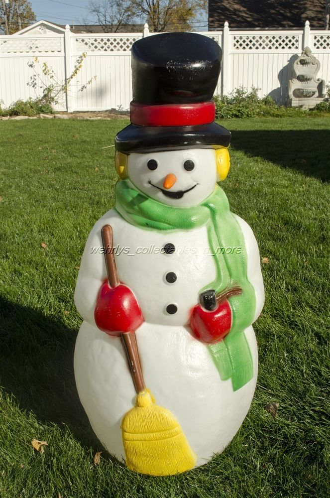 "Blow Mold Green Christmas Candle 39"" Union Products GREEN With RED BOW"