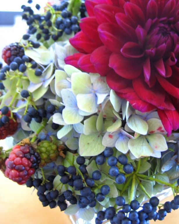 privet and vibernum berries with hydrangea and dahlia