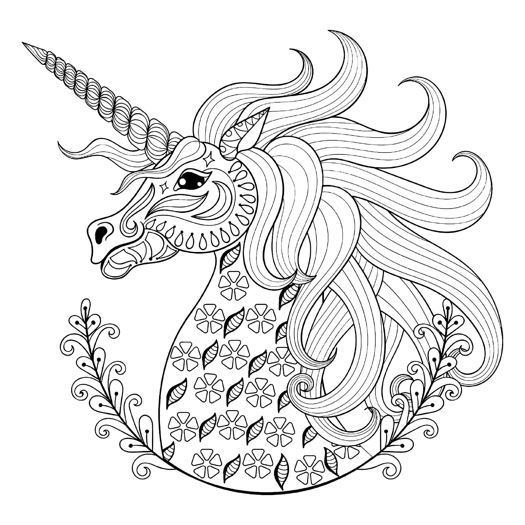 Unicorn S Head With Simple Floral Patterns Artist Ipanki Unicorn Coloring Pages Animal Coloring Pages Stress Coloring