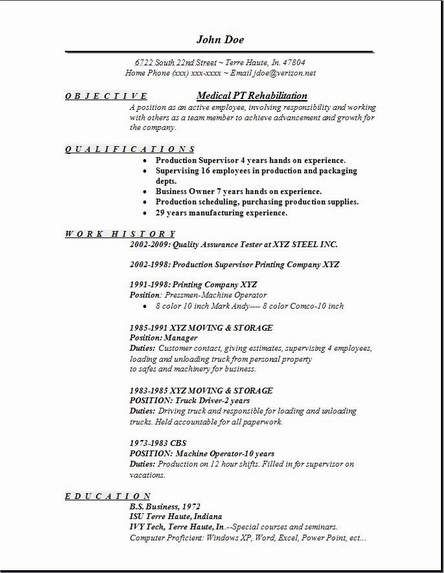 resume examples for physical therapist