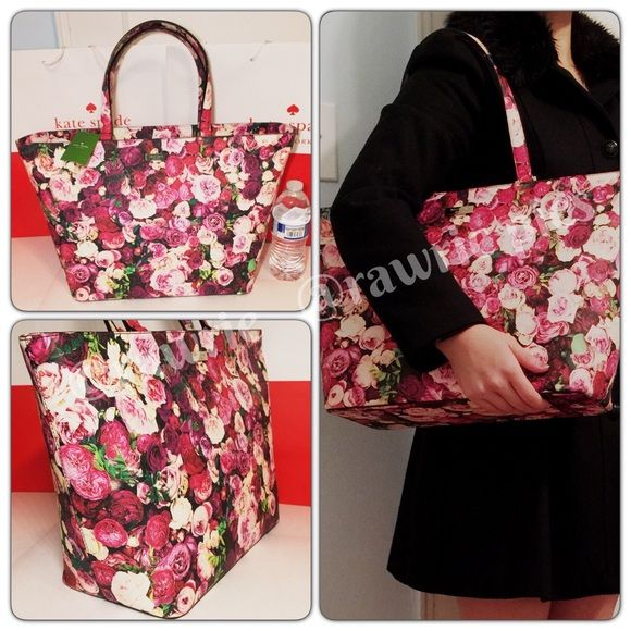 """New Kate Spade floral roses large travel tote 100% authentic. Colorful multiple roses print with 14-karat light gold plated hardware. Inside zip and slip pockets. Zip top closure and fabric lining. Handles drop 9"""". Measures 19""""top/13""""bottom x 11"""" (H) x 6"""" (W). Brand new with tags. Comes from a pet and smoke free home. Kate Spade shopping bag included. kate spade Bags Totes"""