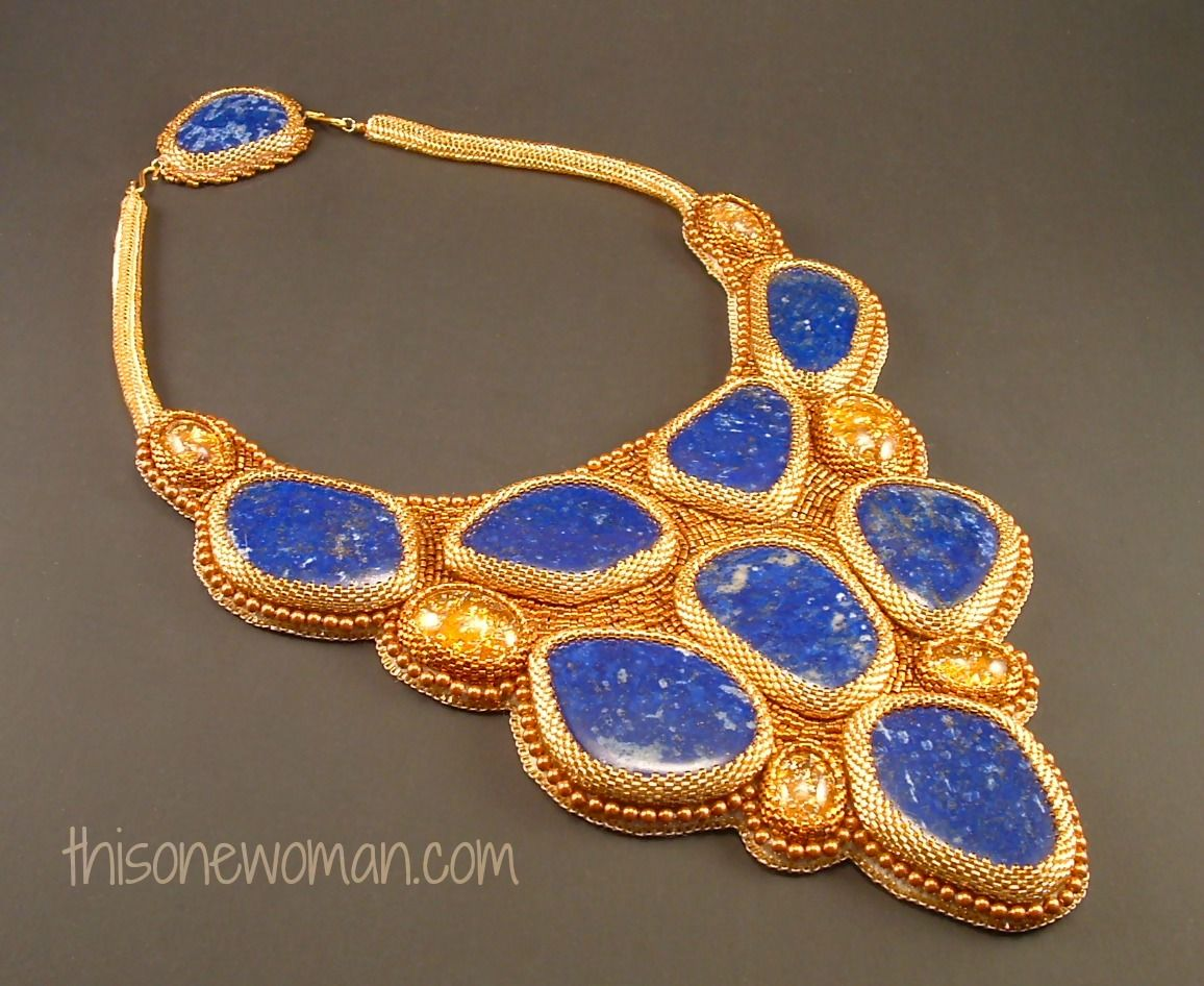 This One Woman Jewelry    Handcrafted Lapis Necklace, #Vintage Cabochons and 24K Gold Beads