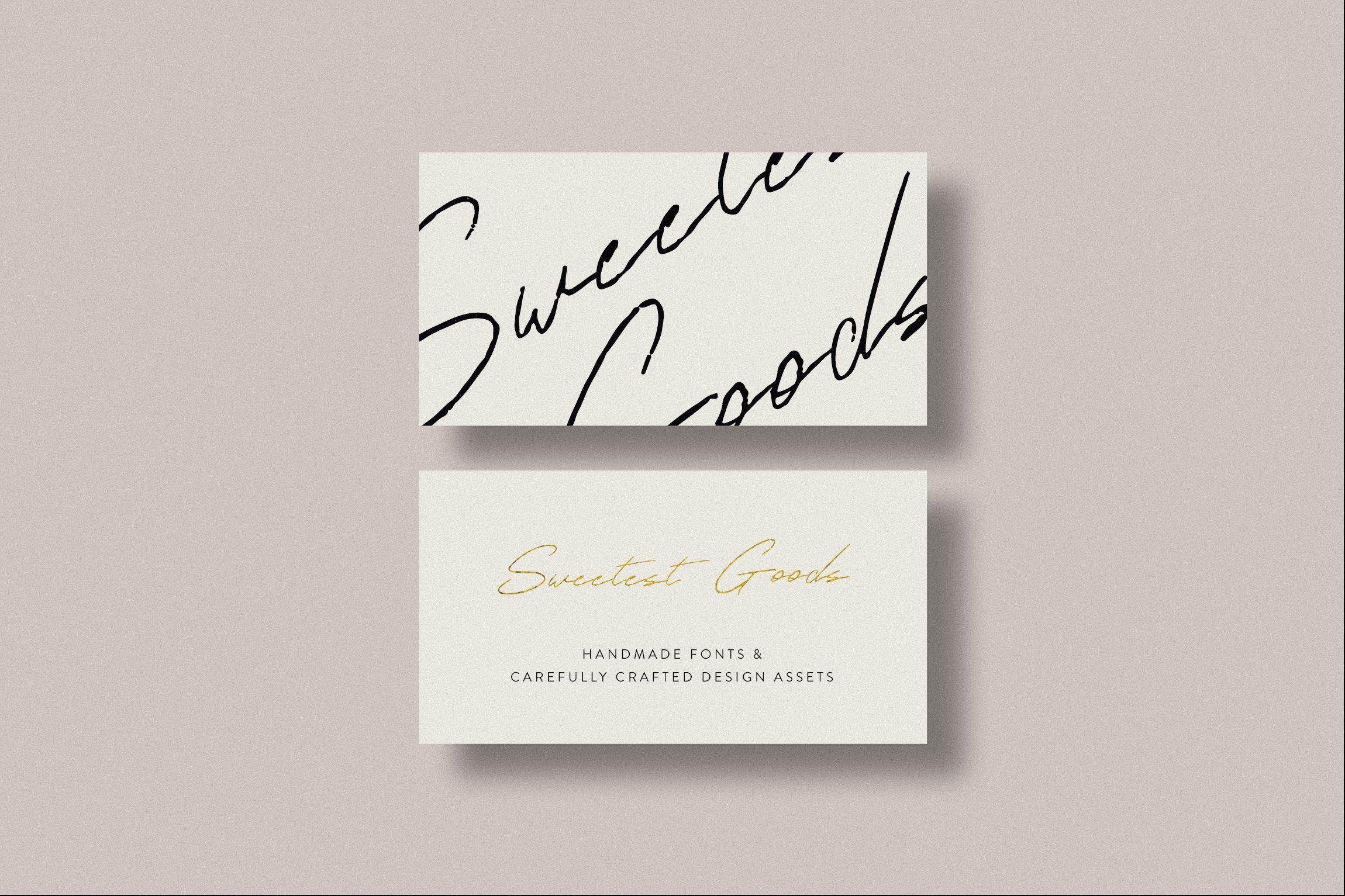 Sugar Rush Handwritten Script Font Typography Business Cards Handwritten Script Font Business Card Inspiration