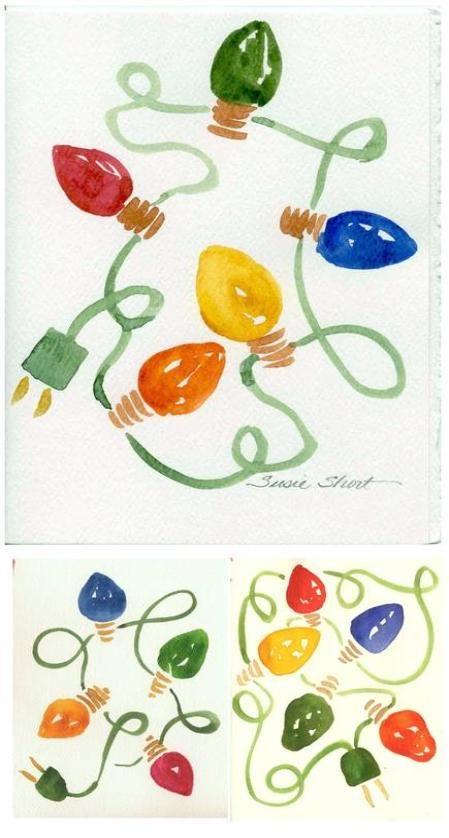 Susie Short S Watercolor Christmas Card Ideas Homemade And Handpainted Watercolor Christmas Cards Christmas Drawing Painted Christmas Cards