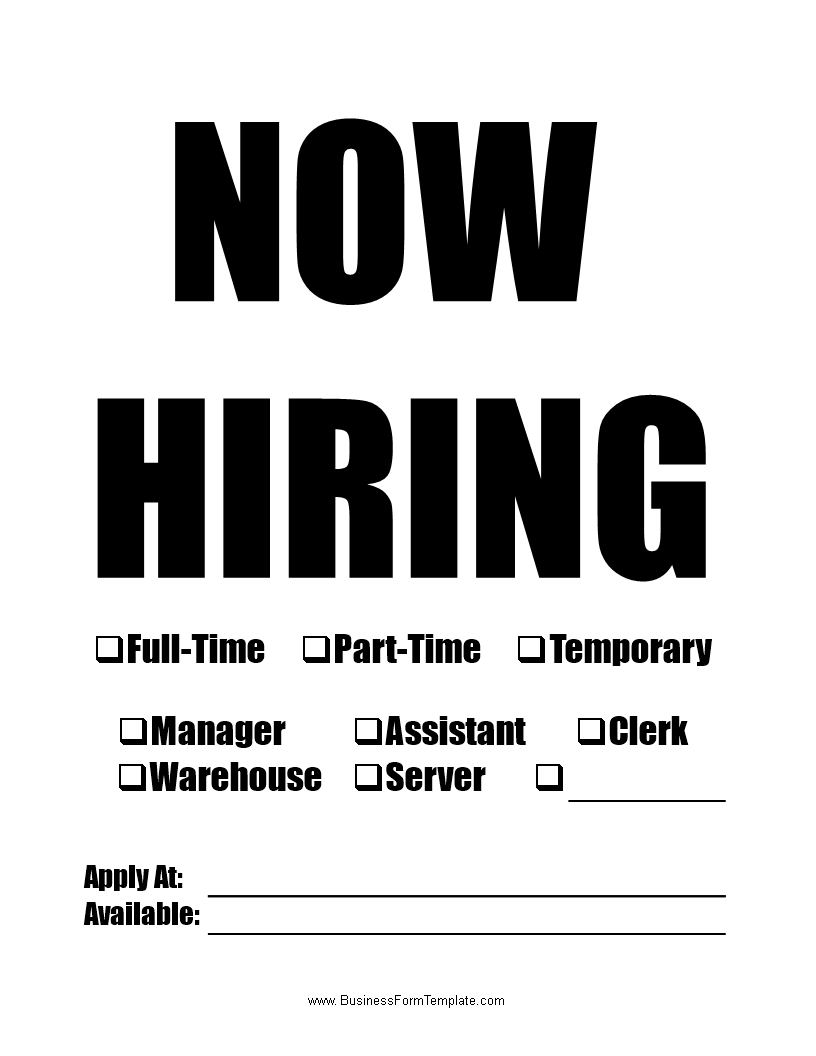 Now Hiring Template Word Doc Download This Now Hiring Template Word In Red Color If You Are Recruiting New Emplo Now Hiring Sign Hiring Poster Sign Templates