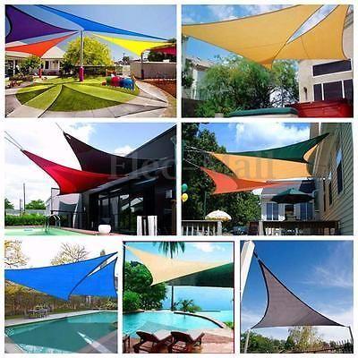 1fe303100e54 Waterproof Sun Shade Sail Garden Patio Awning Canopy Sunscreen Block  Triangle