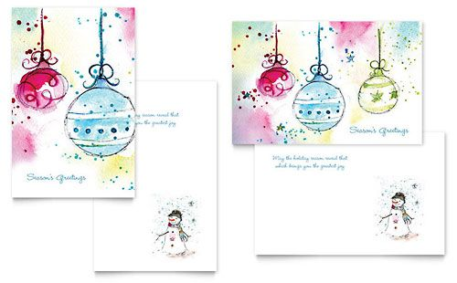 Whimsical Ornaments Greeting Card Template by @StockLayouts - greeting card templates