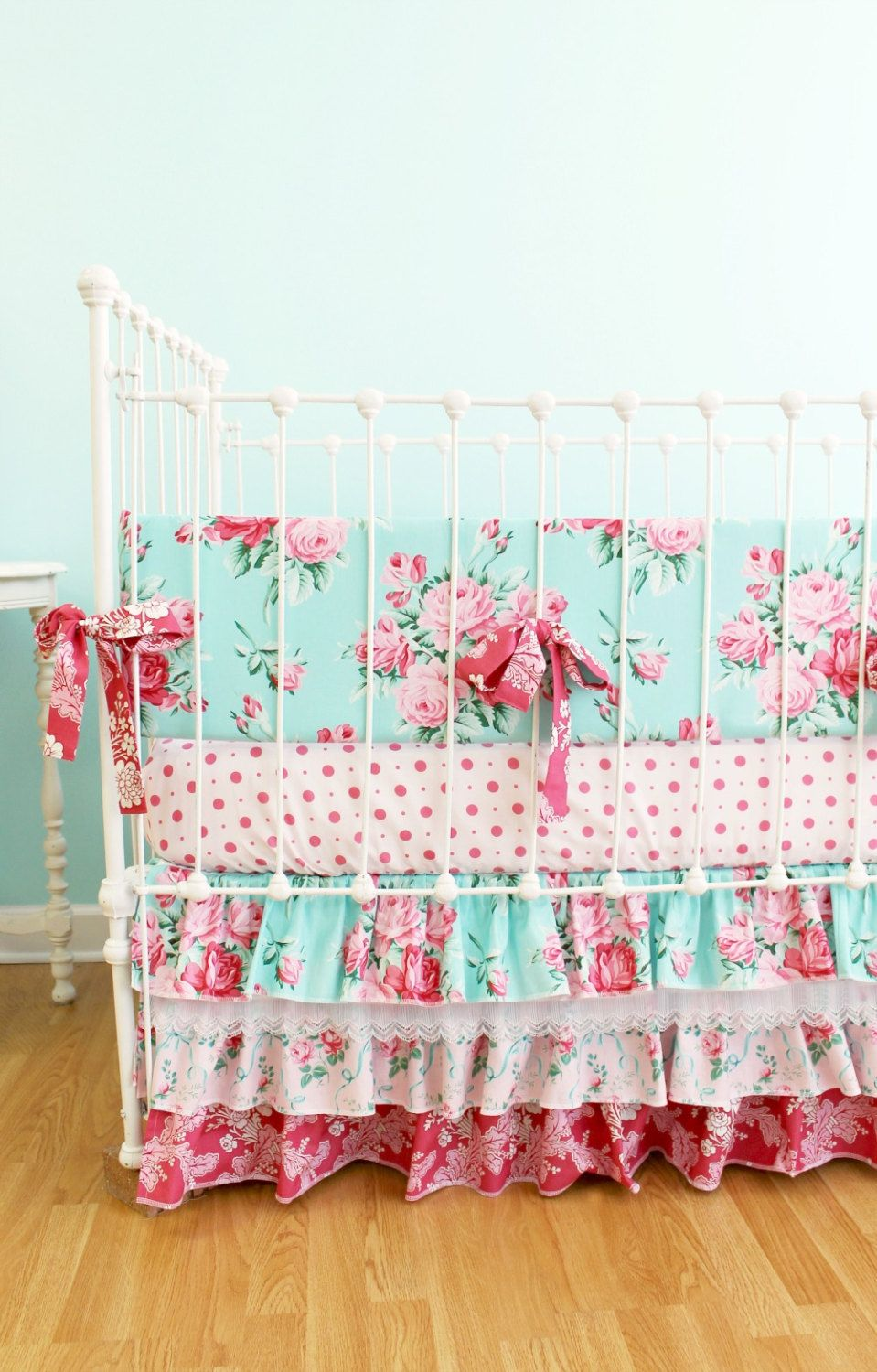 Girls Crib Bedding Bumper Set In Dusty Blue And Pink