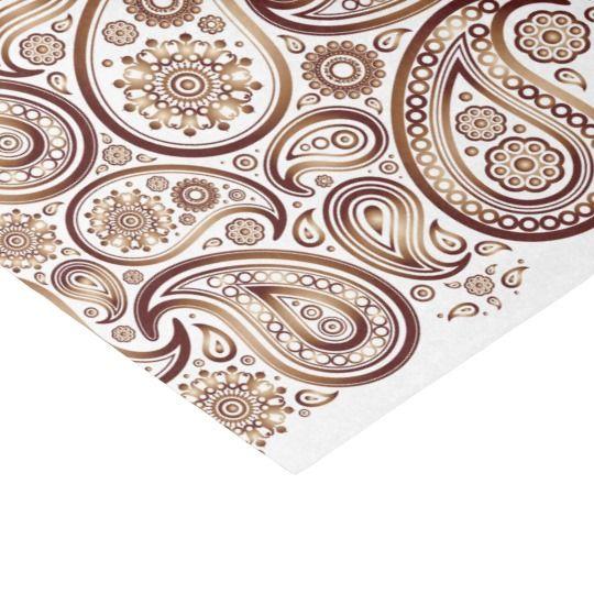 "Shiny Copper Paisleys on White - Tissue Paper 10"" X 15"" Tissue Paper"