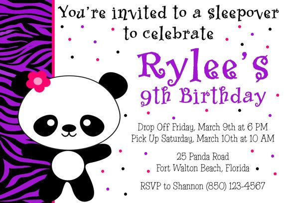 Panda Birthday Party Invitation Girl Printable By