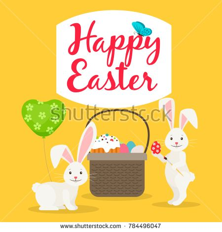 Happy easter greeting card template with Easter basket and rabbits