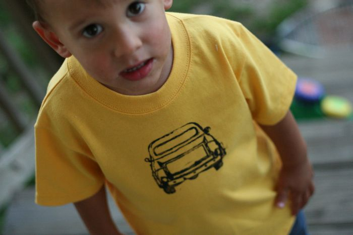 Cool People Sew: how to stamp a shirt.