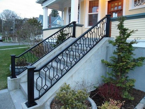 Craftsman Leaded Glass Inspired Custom Iron Rail For A Craftsman