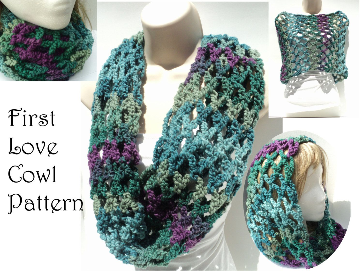 Crochet PATTERNS - Bulky Cowl - Chunky Chain and Flower - Spring ...