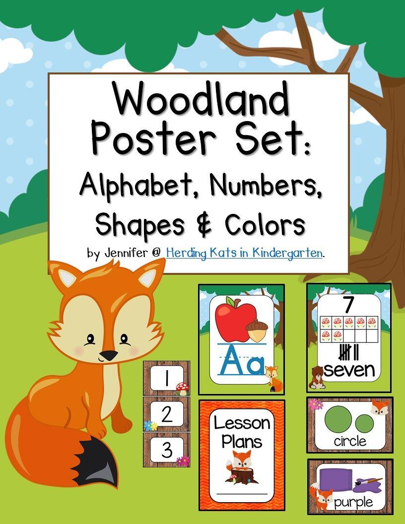 Classroom Alphabet Decor ~ Woodland forest classroom poster decor bundle