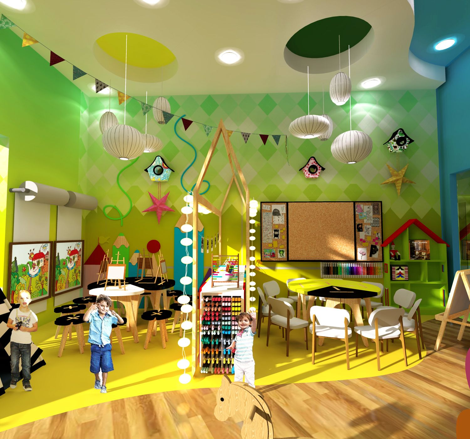 Colorful Playroom Design: Kindergarten Playroom Design