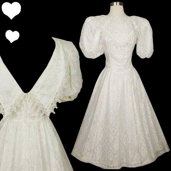 Vintage 80s Dress / White Lace Dress / GUNNE SAX Dress / 80s Prom ...
