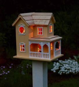 Best Prairie Farmhouse Lighted Birdhouse And Optional Wood Pole 400 x 300