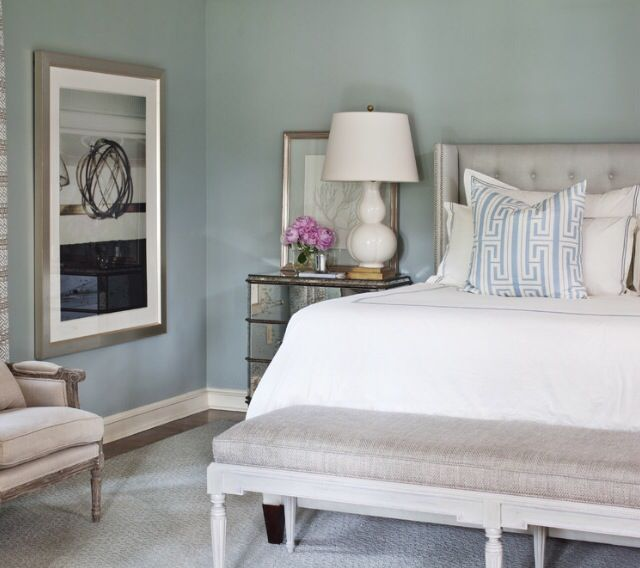 "This neutral color scheme makes the ""silvermist"" color on the walls stand out beautifully. #silvermist #bedroom #romaninteriordesign"