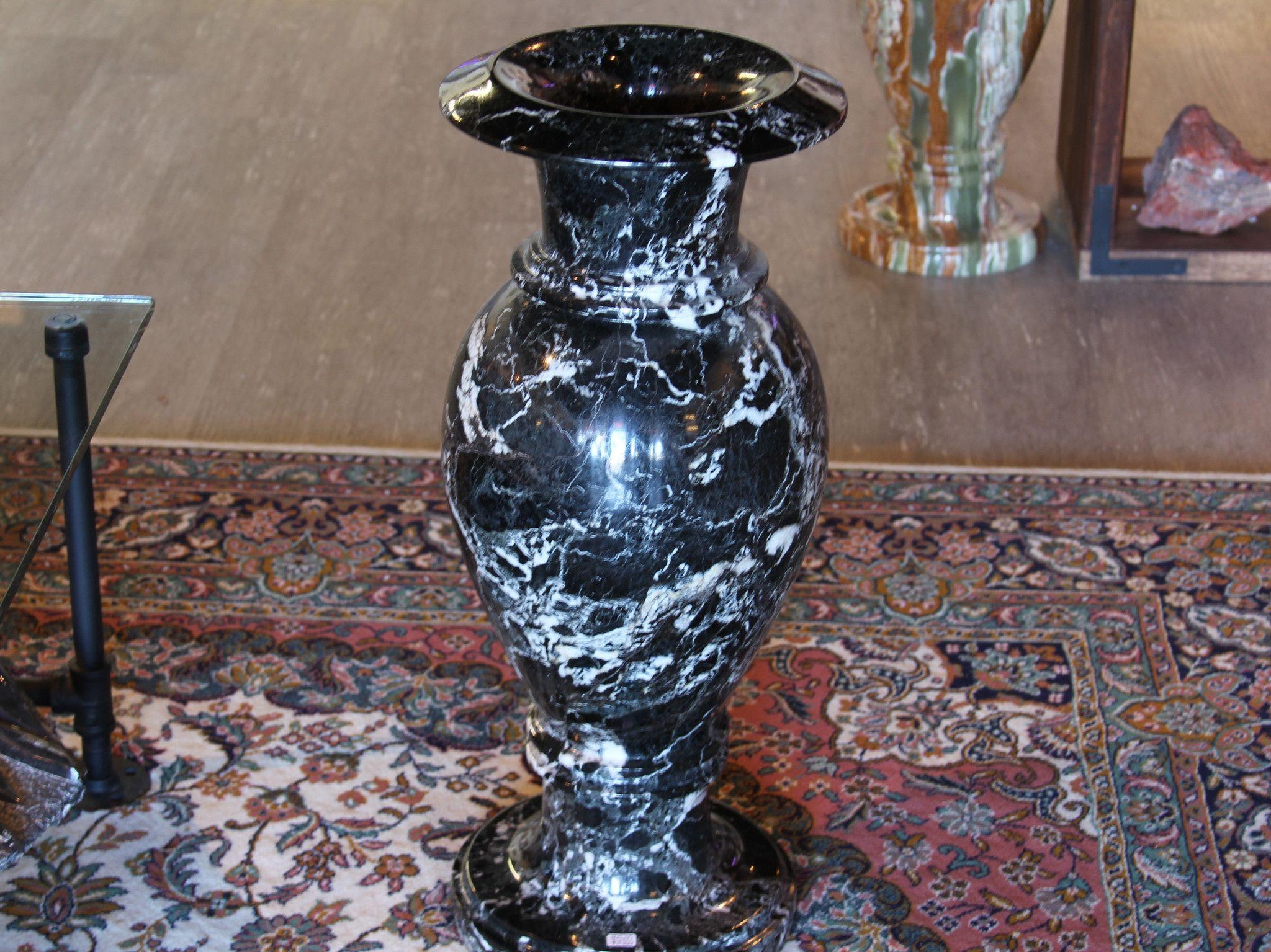 Large Black Zebra Onyx Marble Vase #1274
