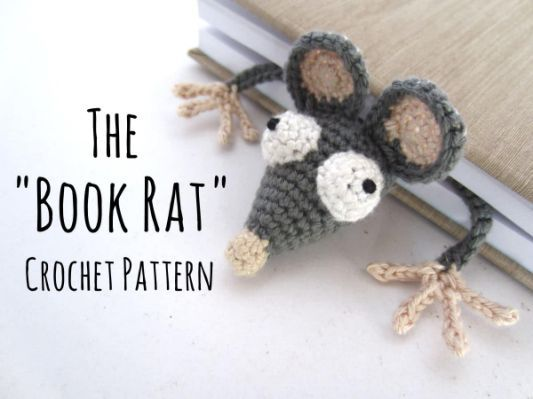 Amigurumi Crochet Books : Amigurumi crochet rat bookmark croche pinterest bookmarks