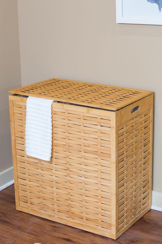 Amazon Com Birdrock Home Oversized Bamboo Divided Laundry Hamper