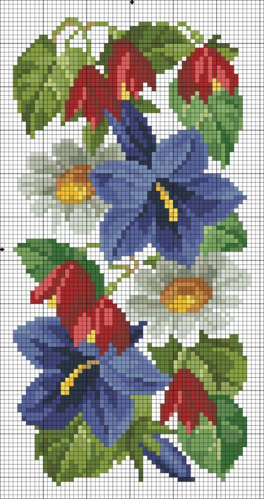 Bouquet de fleurs motif point de croix gratuit toutes les grilles gratuites point - D m c broderie grilles gratuites ...