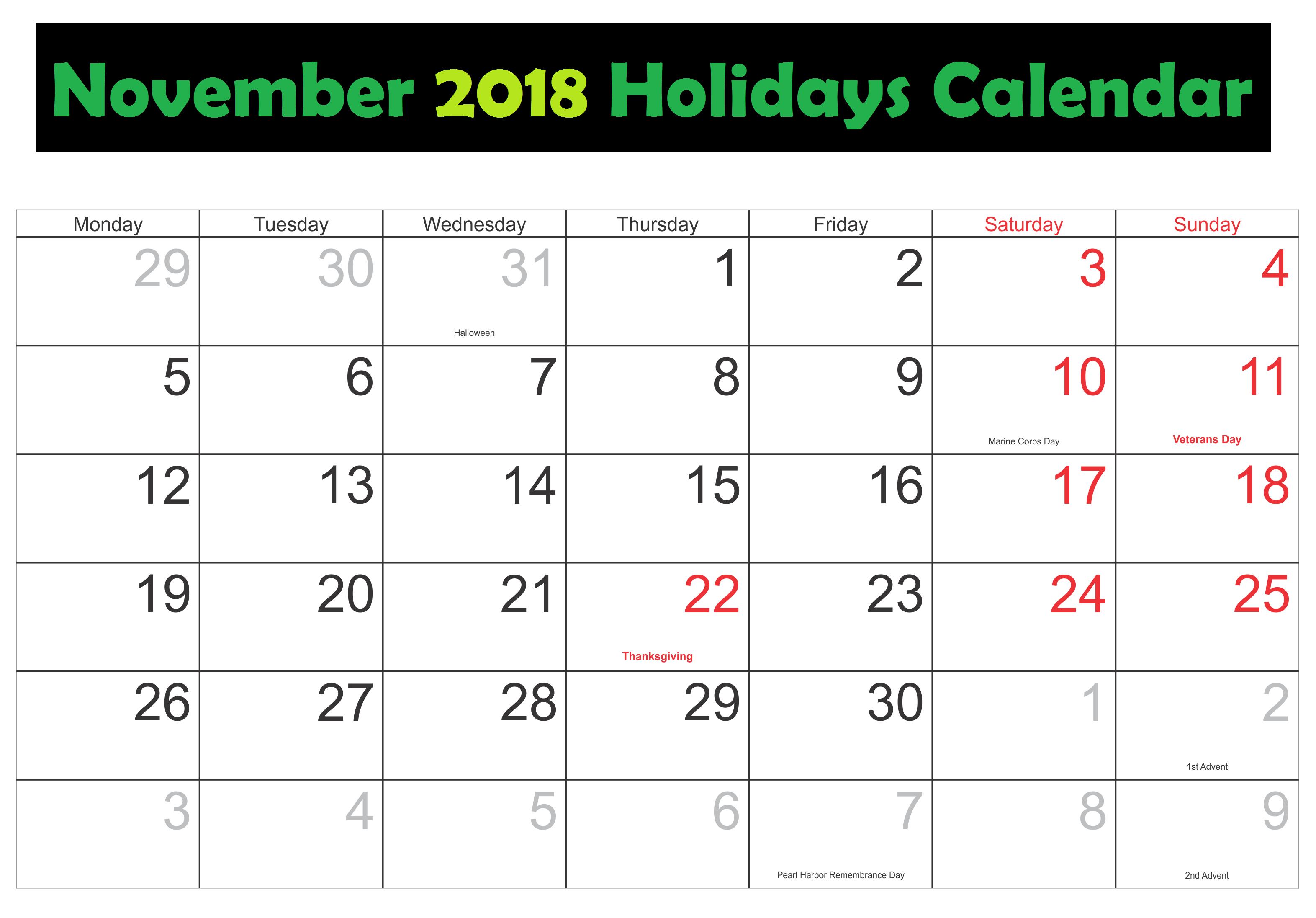 November 2018 Excel Calendar With Holidays Holiday Printables Excel Calendar Calendar