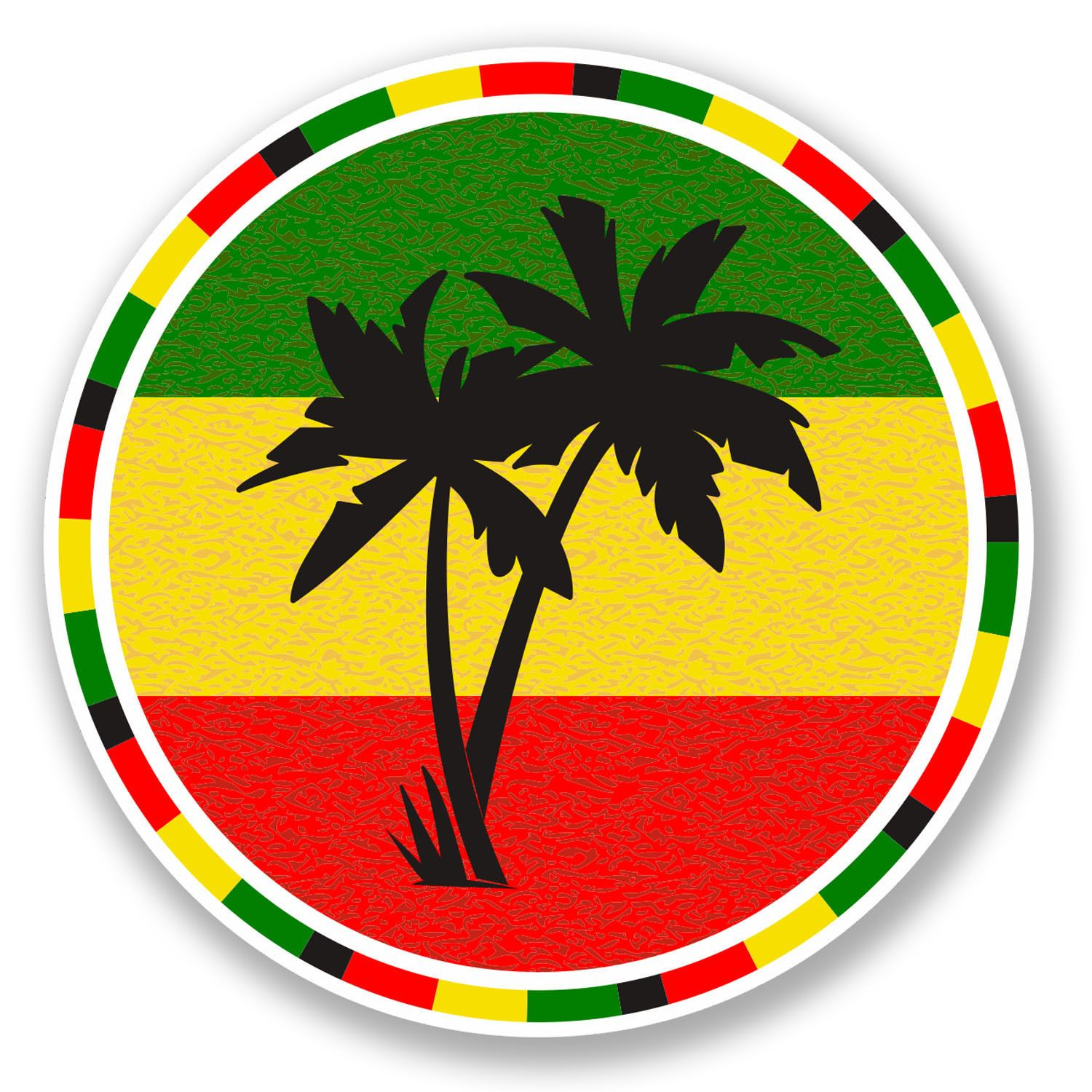 2 x 10cm jamaica rasta palm tree vinyl decal sticker luggage travel beach 5649