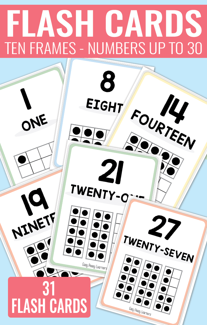 Printable Ten Frame Flash Cards Numbers 0 to 30, in two sizes | Easy ...