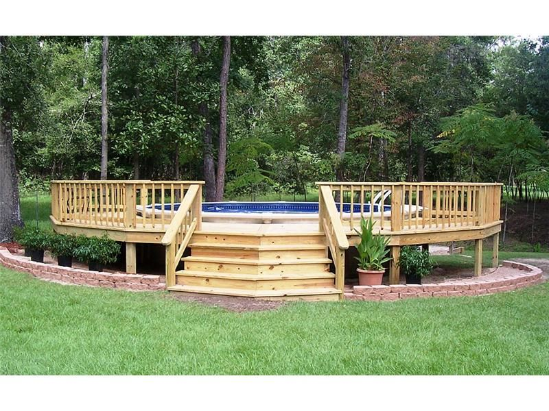 Above ground pool photo gallery photo gallery backyard for Above ground pool decks for small yards