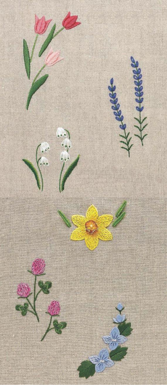 Yuki Sugashima cuatro estaciones jardín de flores bordado | Tejido ...