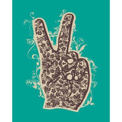 Wheatpaste Floral Peace by WP House Framed Graphic Art on Wrapped Canvas in Green