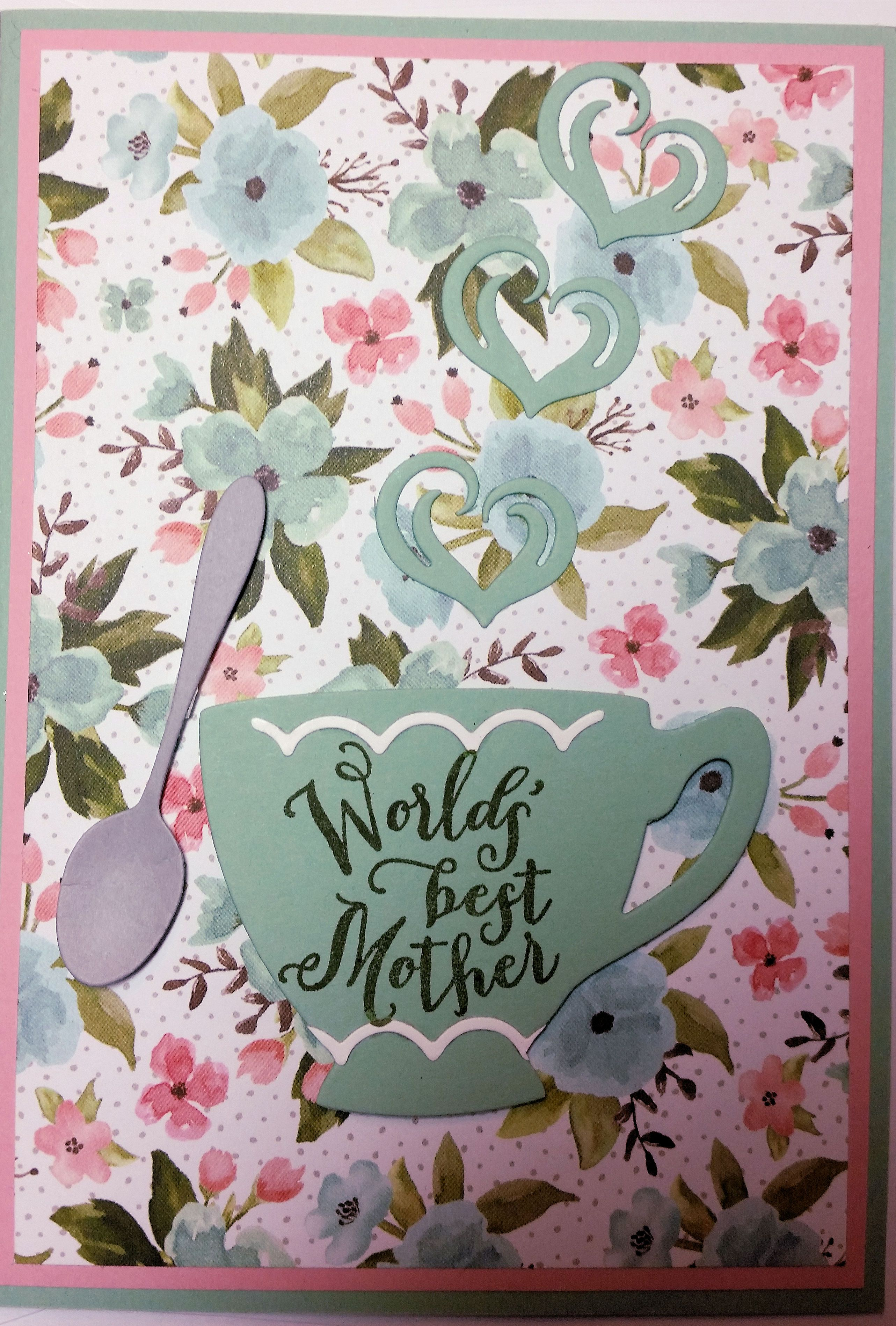 Mother's Day Card - made using Stampin' Up! products including A Nice Cuppa Stamp Set, Birthday Bouquet DSP and Cups & Kettles Framelits.