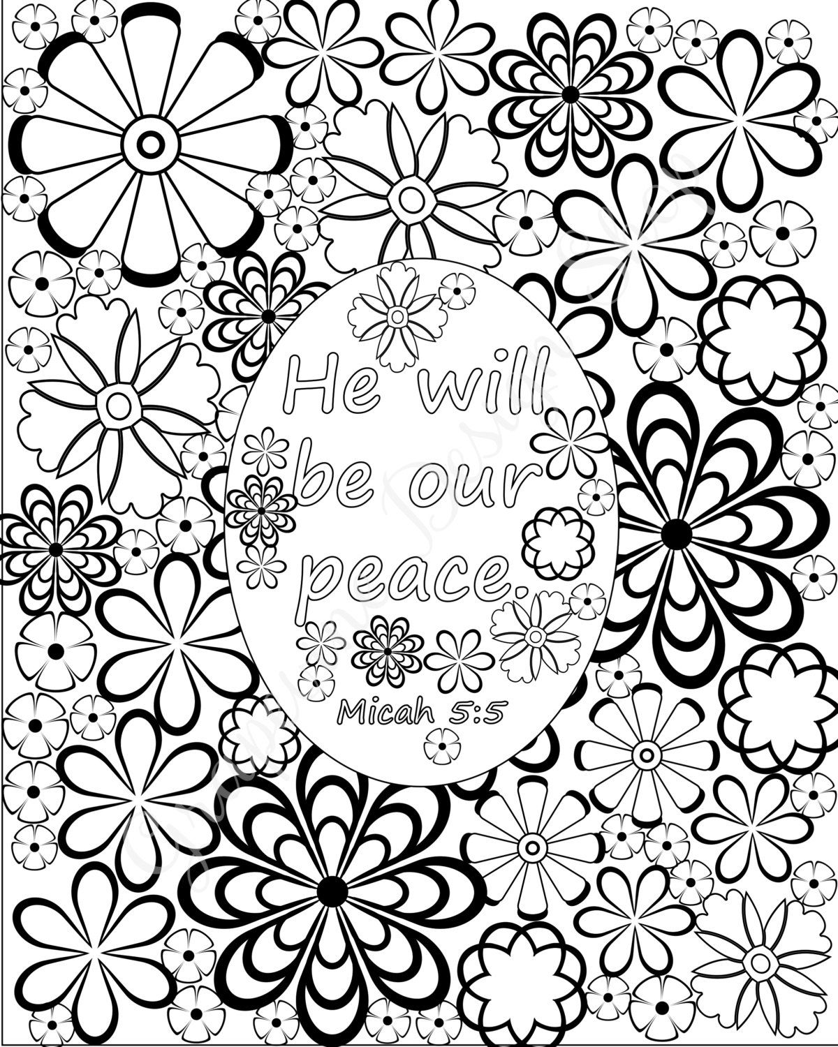 Coloring pages bible verses - Flower Coloring Pages Bible Verse Coloring By Grapevinedesignshop