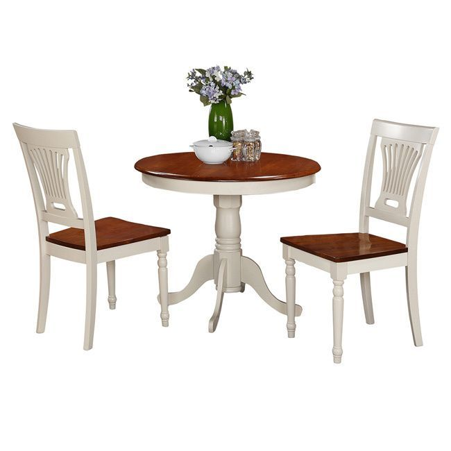 Buttermilk And Cherry Round Table And Two Chair 3Piece Dining Set Pleasing Off White Dining Room Furniture Review
